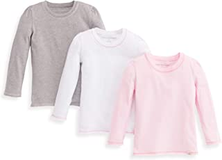 Girls Toddler T-Shirts, 3-Pack Short Long Sleeve V-Neck & Crewneck Tees