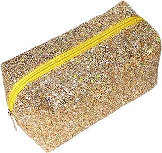 Colorful Glitter Shine Cosmetic Pouch Waterproof Zipper Handbag Carry Case Organizer Travel Case (gold)