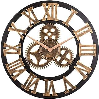 SKEIDO Vintage Analog Clock 3D Gear Roman Numerals Design Quartz Clock for House Decoration