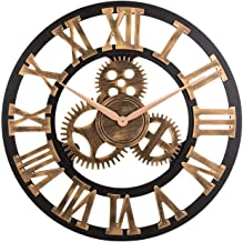Vintage Analog Clock 3D Gear Roman Numerals Design Quartz Clock for House Decoration