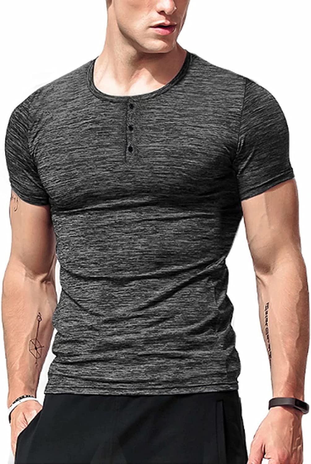 LecGee Men's Sale SALE% OFF Clearance SALE Limited time Workout Shirts Short Active Henley Sleeve Dry Quick
