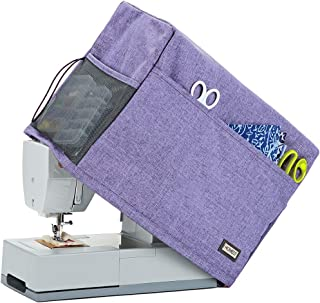 HOMEST Sewing Machine Dust Cover with Storage Pockets, Compatible with Most Standard Singer and Brother Machines, Purple (Patent Pending)