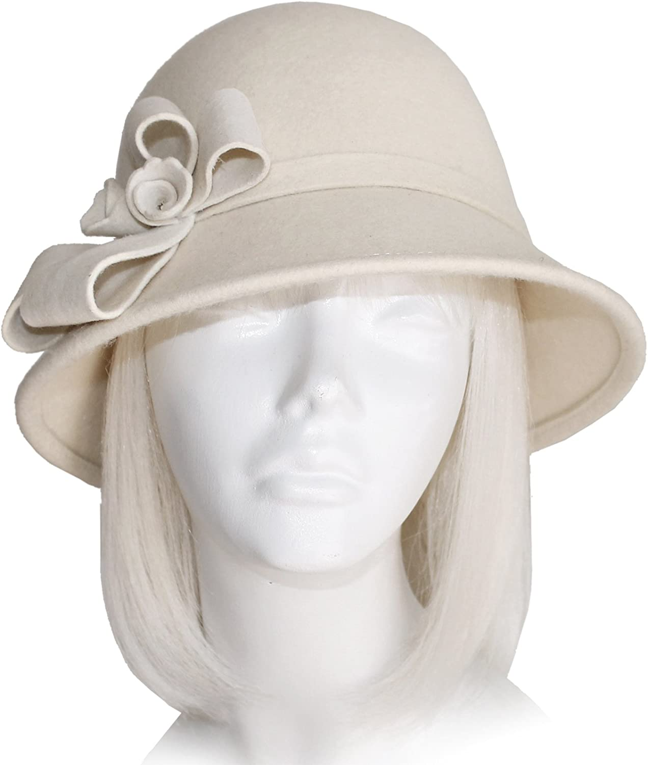 Mr. Song Millinery SoftAsCashmere Felt Bucket Cloche Hat  White FH112