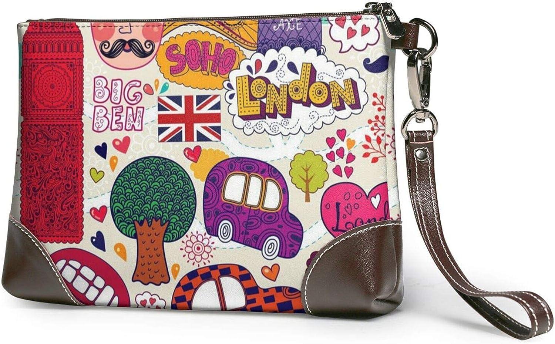 School Newspaper In English Printed Women'S Wristlet Handbags Purses Wallets Evening Leather Clutch Bags 8in X 5.5in X 1.5in