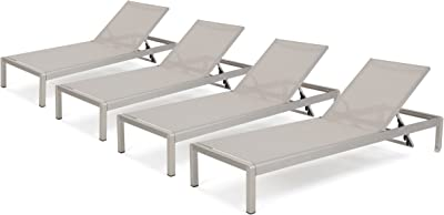 Christopher Knight Home Cape Coral Outdoor Mesh Chaise Lounges, 4-Pcs Set, Grey