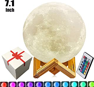 7.1 Inch Full Moon Lamp,5.9in,7.9in,9.1in and 10.1in 3D Moon Lamp,3D Printing LED 16 Colors Moon Light, Touch and Remote Control Moon Light