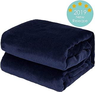 TILLYOU Flannel Fleece Plush Soft Winter Baby Blanket Thick Fluffy Fuzzy Warm Toddler Bed/Crib Blanket, Oversized Lightweight Daycare Nap Blanket/Kids Sleeping/Tummy Time Blanket, 39x47 Navy Blue