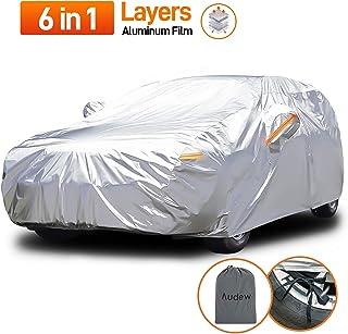 Audew Pokrowiec na samochód, zaawansowane materiały kompozytowe, plandeka samochodowa, folia aluminiowa, ochrona przed sło...