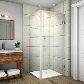 Aston SEN993-CH-32-10 Aquadica GS Completely Frameless Square Hinged Shower Enclosure with Glass Shelves, 32