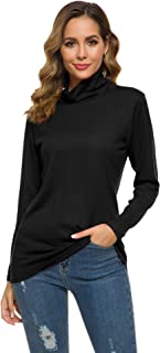 Long Sleeve T Shirt Women Casual Cowl Neck Slim Fit Solid Color Lightweight Sweatshirts S-XXL