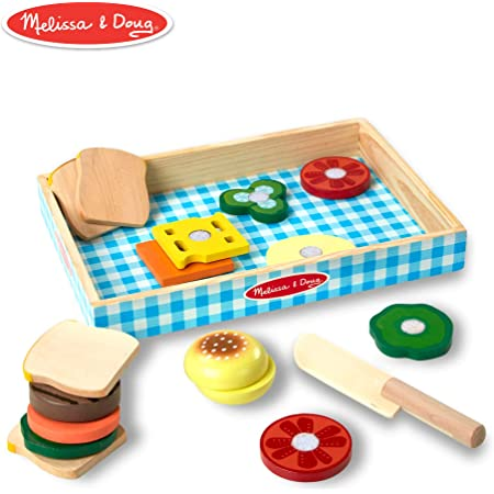 Melissa & Doug Wooden Sandwich Making Set | Pretend Play | Play Food | 3+ | Gift for Boy or Girl