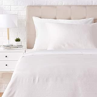 AmazonBasics Super-Soft Cotton Duvet Cover Set - Twin, Pink Chevron