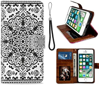 mophinda Wallet Case for Apple iPhone 8 (2017)/iPhone 7 (2016) (4.7-Inch) Ethnic,Ethnic Mandala Floral Lace Paisley Mehndi Design Tribal Lace Image Art Print,Black and White Luxury