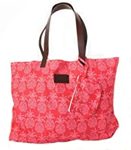 West Indies Cotton Beach Bag with Leather Handles Tote Carryall (Tango Red)