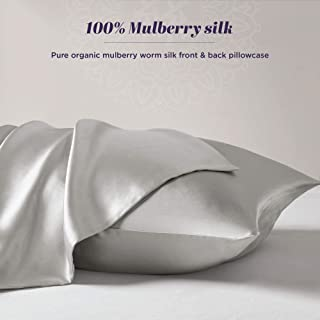 The Pure Silk Pillowcase for Hair and Skin – 100% Organic Mulberry Silk Pillow Case with Hidden Zipper – Premium, Soft, Allergen Resistant 1 Pack Standard Size 20x26 Grey