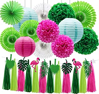 ADLKGG Tropical Flamingo Palm Leaf Banner Party Decorations, Hanging Paper Fans Paper Lanterns Pom Poms Flowers Tissue Tassels for Birthday Baby Shower Summer Hawaiian Party Bachelorette