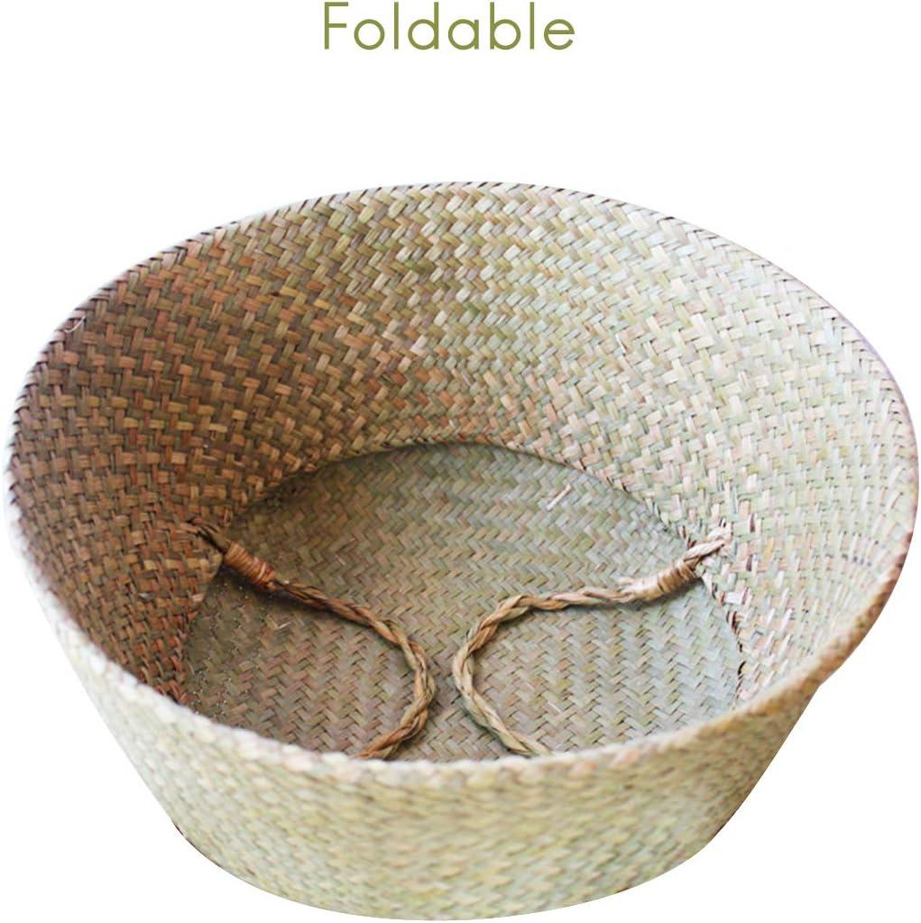 maceta para colgar para almacenamiento y lavander/ía Prevessel 1 cesta tejida para el vientre de algas marinas con asa plegable natural para la colada maceta de flores 20 x 22 cm