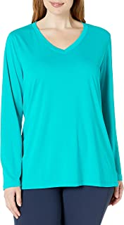 Just My Size Womens OJ905 Active Cooldri Long Sleeve V-Neck Tee Long Sleeve Shirt