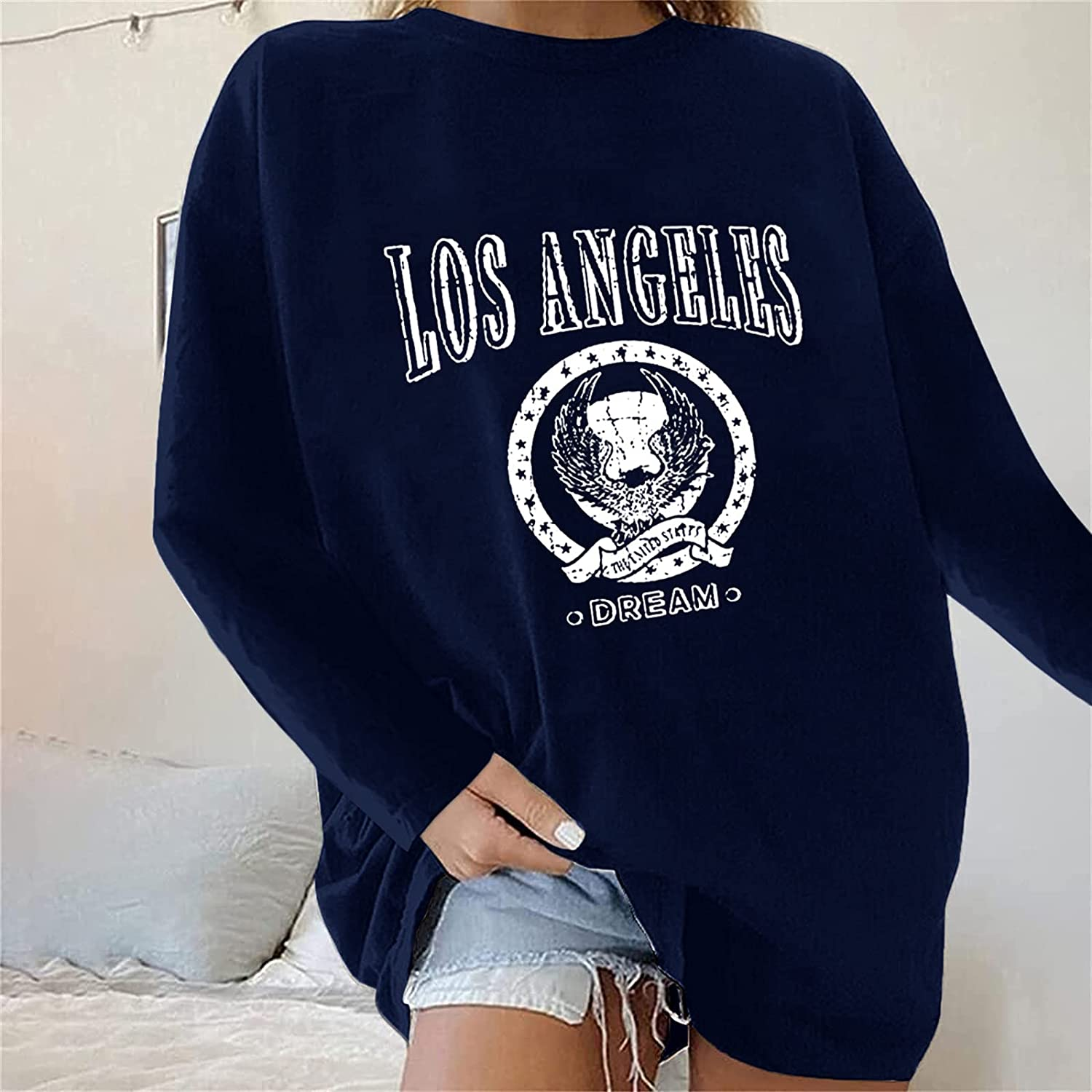 Beclgo Oversized Long Sleeve Shirts for Women Letter Print Basic Outdoor Workout Casual Fall Thermal Tops
