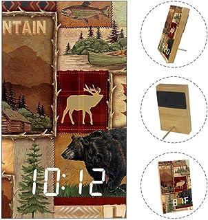 置き時計 復古的 パズル 動物 植物 山 小島 置時計 木目調 目覚まし時計 デジタル時計 アラーム時計 LED表示 北欧 卓上 日付 温度 省エネ USB給電 電池