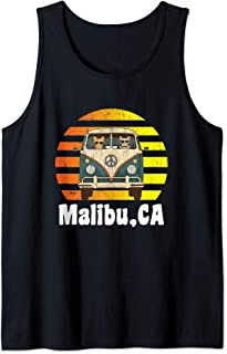 Malibu CA Road Trip Distressed Retro Vintage Hippie Van Tank Top