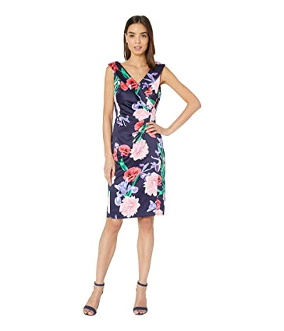 Tahari by ASL Printed Stretch Satin Floral Dress with Side Ruching (Watercolor Floral Navy) Women