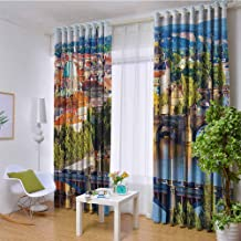 Wanderlust Decor Collection 100% blackout lining curtain Summer Old Town Charles Bridge over Vltava River in Prague Czech Republic Image Full shading treatment kitchen insulation curtain W120 x L84 I