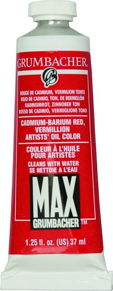 Grumbacher Max Water Miscible Oil Paint, 37ml/1.25 oz, Cadmium-Barium Vermillion