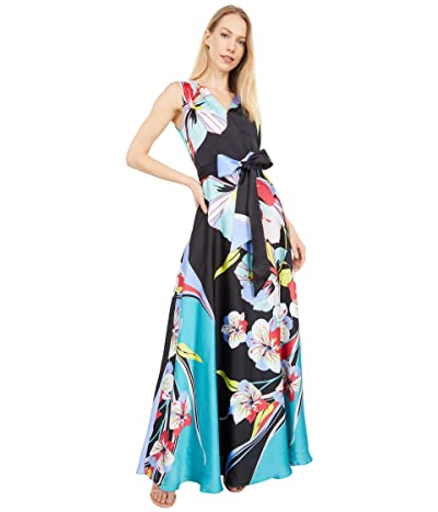 Tahari by ASL Sleeveless Printed Charmeuse Gown Women