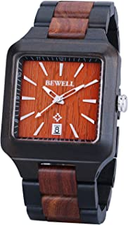 Bewell Wood Watch Men Square Analog Quartz Wooden Wrist Watches with Date Luminous Hands
