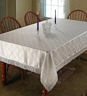 "Violet Linen Diamond Damask Design Fringes Oblong/Rectangle Tablecloth, 60"" x 120"", White"