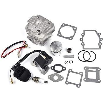 Gas Engine 44mm Cylinder Head Set Piston 47-50cc for 2Stroke Mini Pocket Scooter