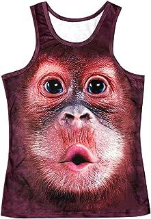 Vepodrau Canotte da Uomo brutte Canotte estive Divertenti Orangutan Stampa Canotte Tees