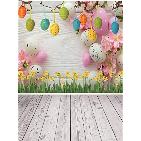 GoHeBe Vinyl Easter Day Photography Background 8x6.5ft Colorful Easter Egg Candies Cute Toy Bunny Rustic Wooden Box Tree Trunk Blurry Grassland Wood Scenic Backdrops Children Adults Photo Shoot