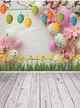 DaShan 14x10ft Rustic Easter Backdrop Spring Flowers Wooden Wall Easter Eggs Photography Background Kids Baby Newborn Children Easter Party Decoration Easter Wall Decor Kids Adults Photo Props