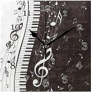 Musiknoter piano tangentbord väggklocka tyst icke-tickande fyrkantig konstmålning klocka för hem kontor skoldekor
