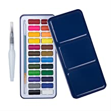 MEEDEN 24 Colours Travel Watercolour Tin & Watercolour Pen & Paintbrush Lightweight and Portable for Students Beginners Ar...