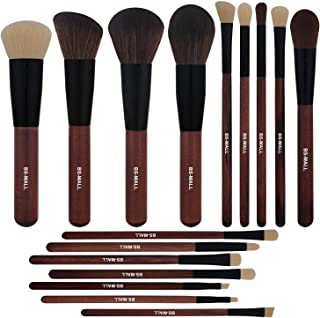 BS-MALL Makeup Brushes Premium Synthetic Foundation Powder Concealers Eye Shadows Makeup 16 Pcs Brush Set,Red Wooden