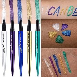 UCANBE 5PCS Liquid Eyeliner Pen Waterproof Eye Gel Shimmer Sparkle Smudge Proof Pigmented Eyeshadow Eye Liner Pencil Cosmetics (Set of 5)