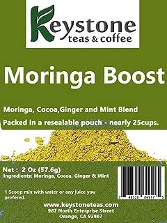 Moringa Boost –– 100% Pure powder of Moringa Leaf, Cocoa, Ginger and Mint leaf blend – 2 Oz – Keystone Teas & Coffee