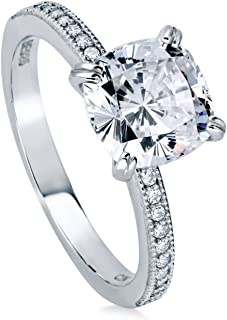 Rhodium Plated Sterling Silver Cushion Cut Cubic Zirconia CZ Solitaire Engagement Ring 3.11 CTW