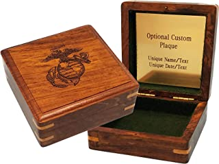 "Stanley London Engraved Military Keepsake Box – Marines (Large 4"" x 4"", Personalized)"