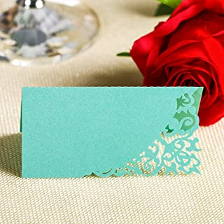 YUFENG Laser Cut Place Cards Table Name Cards For Wedding Birthday Party (60pcs Tiffany blue)