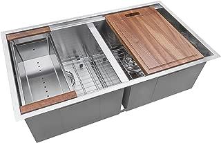 Ruvati 33-inch Workstation Ledge 50/50 Double Bowl Undermount 16 Gauge Stainless Steel Kitchen Sink - RVH8350