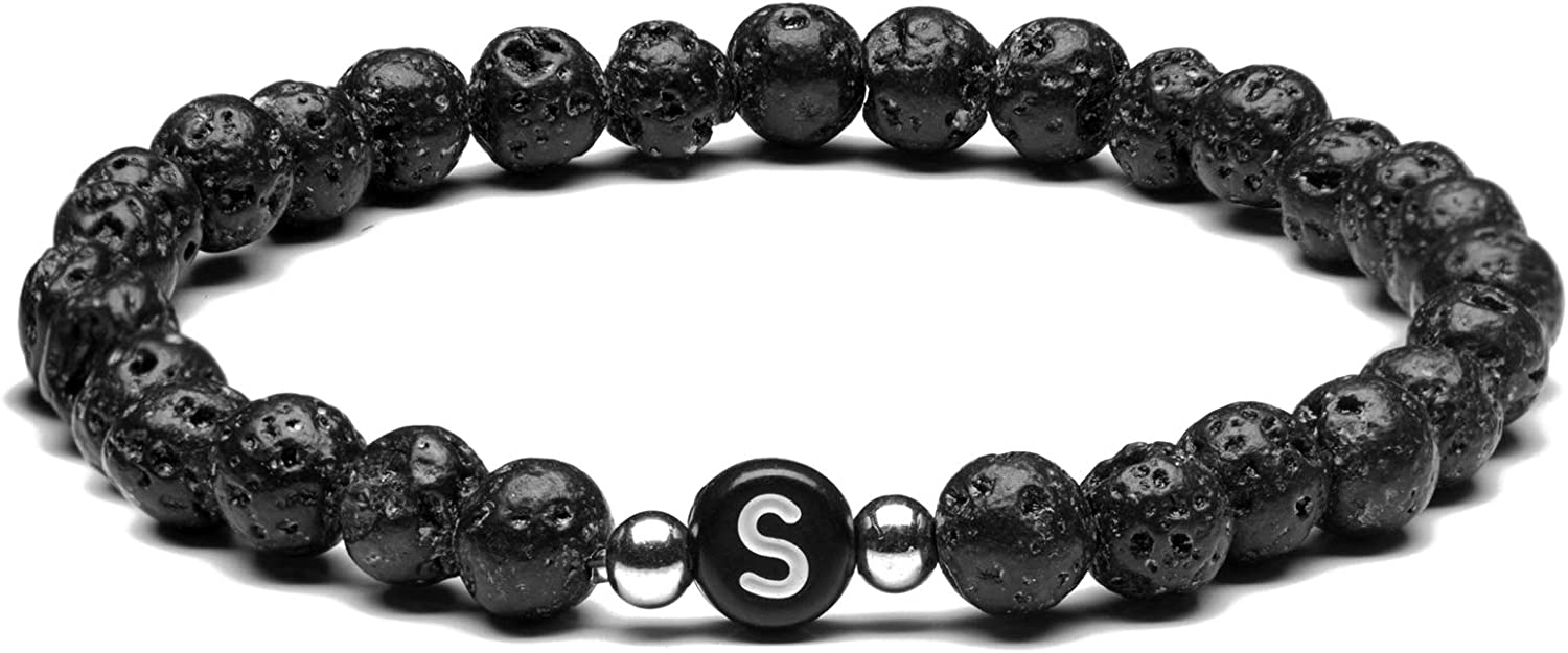 Surprise price Initial Lava Rock Name Bracelet Coupl Women for Men Popular products Personalized