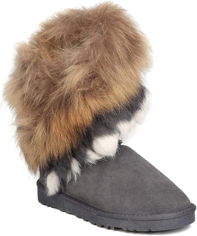 CAPE ROBBIN ROBBIN ROBBIN kvinnor Genuine mocka Fur Boot - Winter, Cozy, Casual - Autentic Fox Rabbit fur Flat Booslips - GD19  70% rabatt