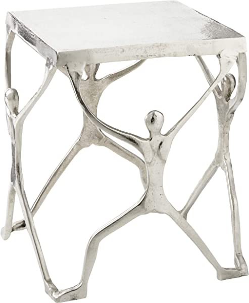 Modern Day Accents 3804 Caballero Man Figure Aluminum Modern Art Unique Home Office Bedroom Silver Square Table 18 X 18 X 18