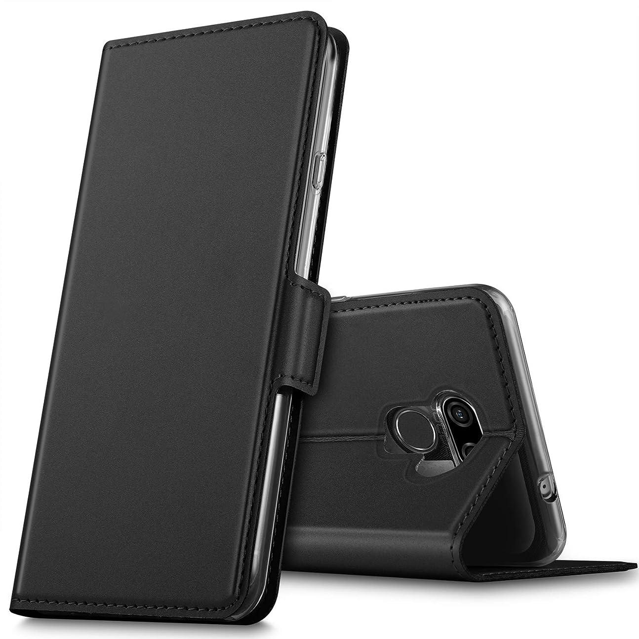 出くわす天才合体LG K50 ケース KuGi LG K50 カバー スタンド機能 横開き 軽量 薄型 耐衝撃 高級 PUレザー 折り畳み式 LG K50 手帳型ケース 全面保護カバー カード収納 ブラック