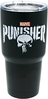 Marvel Big Mouth Tumbler - 30 oz. Stainless Steel Portable Beverage Tumbler - Spill Proof & Double Walled Tumbler, Punisher Logo
