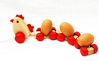 TOWO Wooden Pull Along Toy Chicken with 3 Eggs - Pull Along Wooden Toy for Toddlers- Wooden Toys for Baby